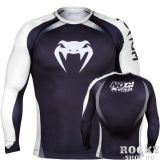 Купить Рашгард Venum No Gi Rash Guard IBJJF Approved - Long Sleeves Black/White (арт. 4902)